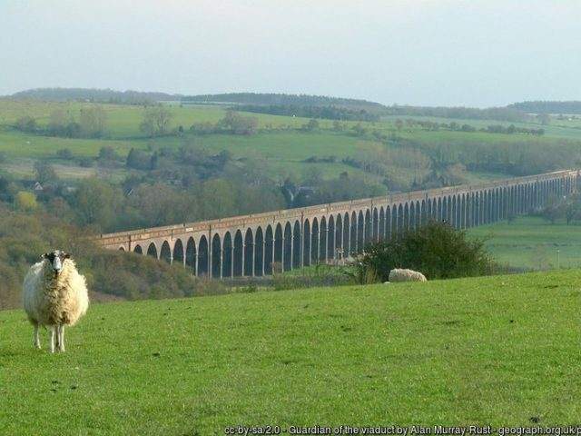 The Harringworth Viaduct spans The Welland Valley.